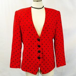 Vintage SBS Red Blazer with Black Polkadots 14